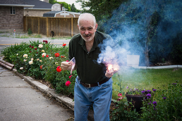 Dad with a flag and sparklers